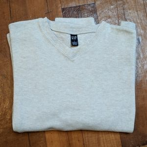 Gap Pullover Cream Knit V-Neck Sweater